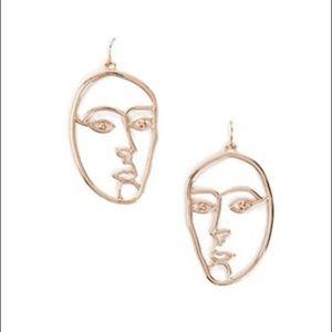Forever 21 Gold Face Outline Drop Earrings